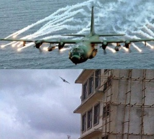 Military air craft captured went round the the SCOAN building before it collapsed
