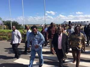 Prophet T.B. Joshua welcomed at the airport by the President Elect, Johnn Magufili