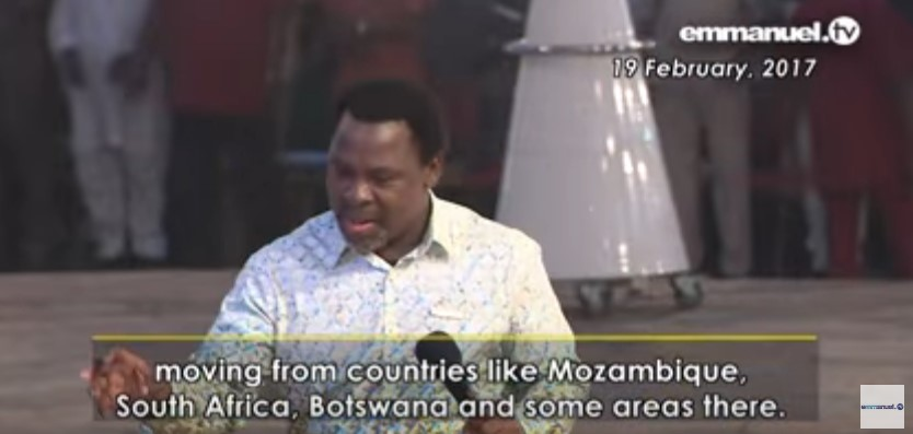 BOTSWANA EARTHQUAKE PROPHECY  TB Joshua